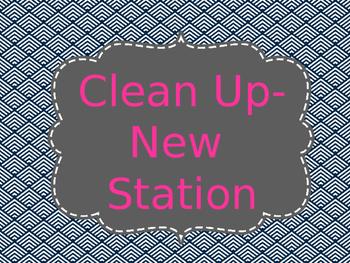 Reading Station/Rotation Automated Presentation Navy & Pink (editable)