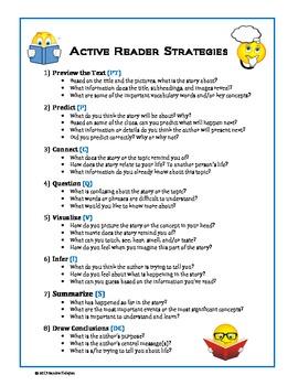 Active Reader Strategies Chart.