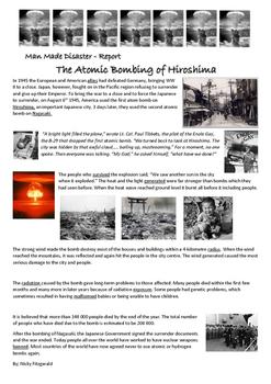 Reading Strategies - Atomic Bombing of Hiroshima - Man Made Disaster