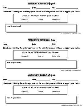 Reading Strategies - Author's Purpose Guide