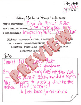 Reading Strategies Book: Reading Conference Log