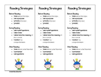 Reading Strategies Bookmark 3-6