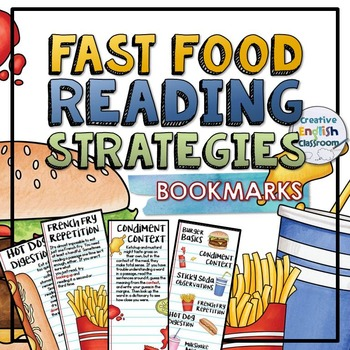 Reading Strategies Bookmarks with Fast Food Theme