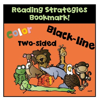 Reading Strategies Bookmark! Two-sided! Color & BW!