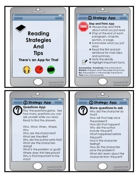 Reading Strategies Bookmark and Key Cards