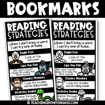 Reading Strategies Bookmarks | Back to School Bookmarks