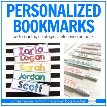 Reading Strategies Bookmarks: Personalized Freebie