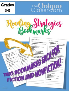 Reading Strategies Bookmarks for Fiction and Non-Fiction