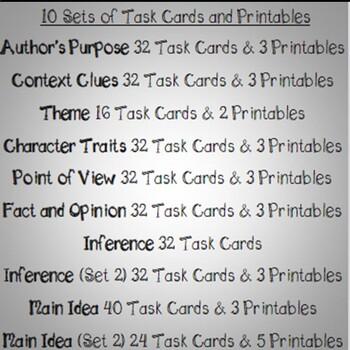 Reading Skills and Strategies 4th Grade Bundle Task Cards & Printables