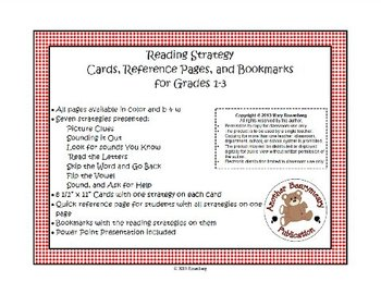 Reading Strategies Cards, Reference Page, and Bookmarks Grades 1-3
