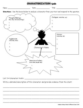 Reading Strategies - Characterization Guide | TpT