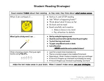 3-Skill Reading Strategies Chart