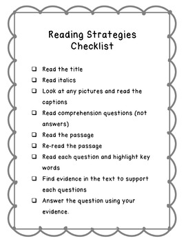 Reading Strategies Checklist