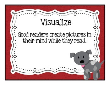 Reading Strategies & Comprehension Dog/Paw Print Themed Posters