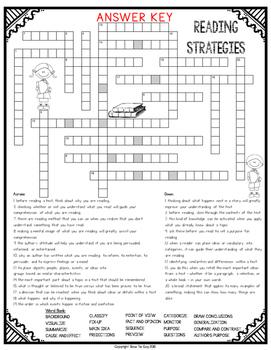 Reading Strategies Crossword