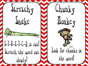Reading Strategies {Decoding with Beanie Babies} Red Chevron