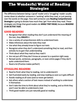 Reading Strategies: Definitions Sheet