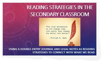 Reading Strategies : Double-Entry Journal + Passing Notes-Common Core