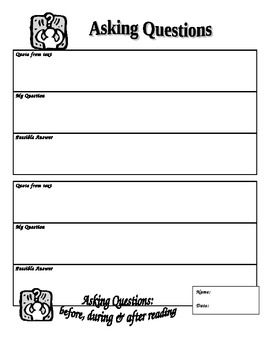 Reading Strategies Graphic Organizers