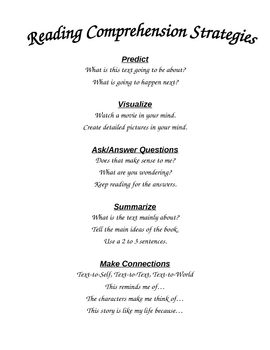 Reading Strategies Handout/Poster