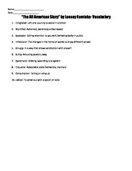 """The All American Slurp"" by Lensey Namioka Reading Strategies Handouts"