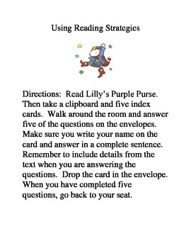 Reading Strategies  Lilly's Purple Purse