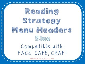 Reading Strategies Menu {Blue}