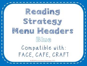 Reading Strategies Menu {Blue}