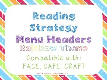 Reading Strategies Menu {Rainbow Theme}