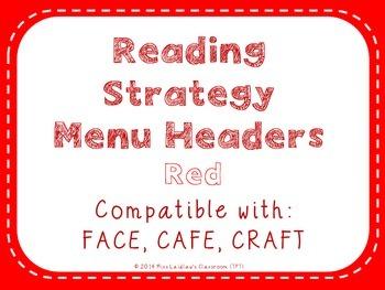 Reading Strategies Menu {Red}