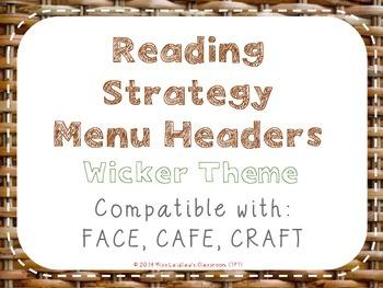 Reading Strategies Menu {Wicker Theme}