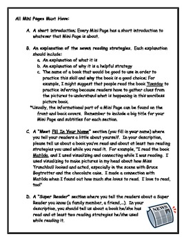 Reading Strategies Mini Page Newspaper
