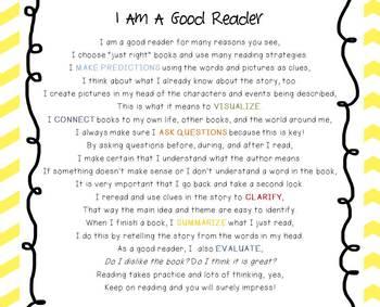 Reading Strategies Original Poem FREEBIE