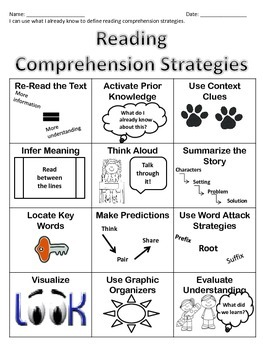 Reading Strategies Poster & Worksheet