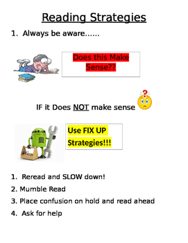 Reading Strategies Poster and Worksheet