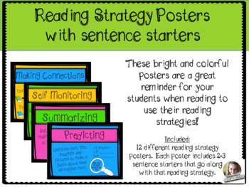 Reading Strategies Posters including sentence starters
