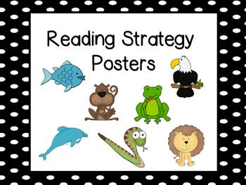Reading Strategies Posters Black Polka Dots