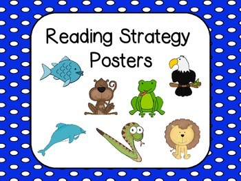 Reading Strategies Posters - (Blue with White polka dots background)