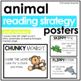 Bright & Neon Reading Strategies Animal Posters & Bookmarks