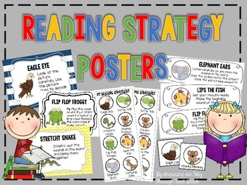 Reading Strategies Posters, Bookmarks, Labels, Student Cards, and Parent Notes