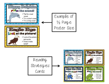 Reading Strategies Posters {Bright Chevron, Polka Dot, or Non-Patterned}