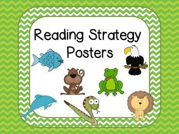 Reading Strategies Posters -Green Chevron