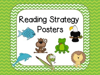 Reading Strategies Posters -Green Chevron