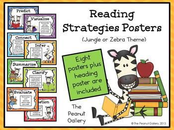 Reading Strategies Posters (Jungle/Zebra Theme)