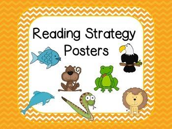 Reading Strategies Posters - Orange Chevron