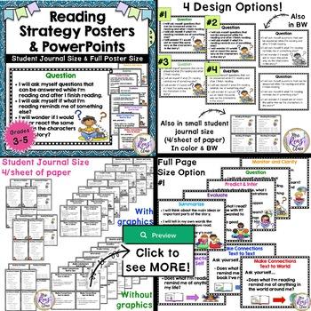 Reading Strategies Posters, Student Journal Size, PPT & Flip Book BUNDLE SET