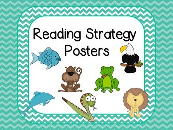 Reading Strategies Posters - Teal Chevron