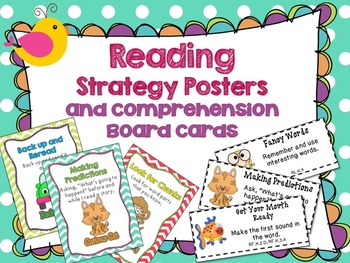 Reading Strategies Posters and Reading Board Cards Boho Birds