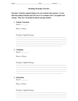 Reading Strategies Practice Sheet