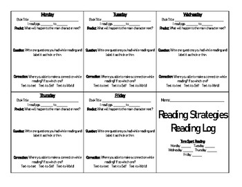 Reading Strategies Reading Log